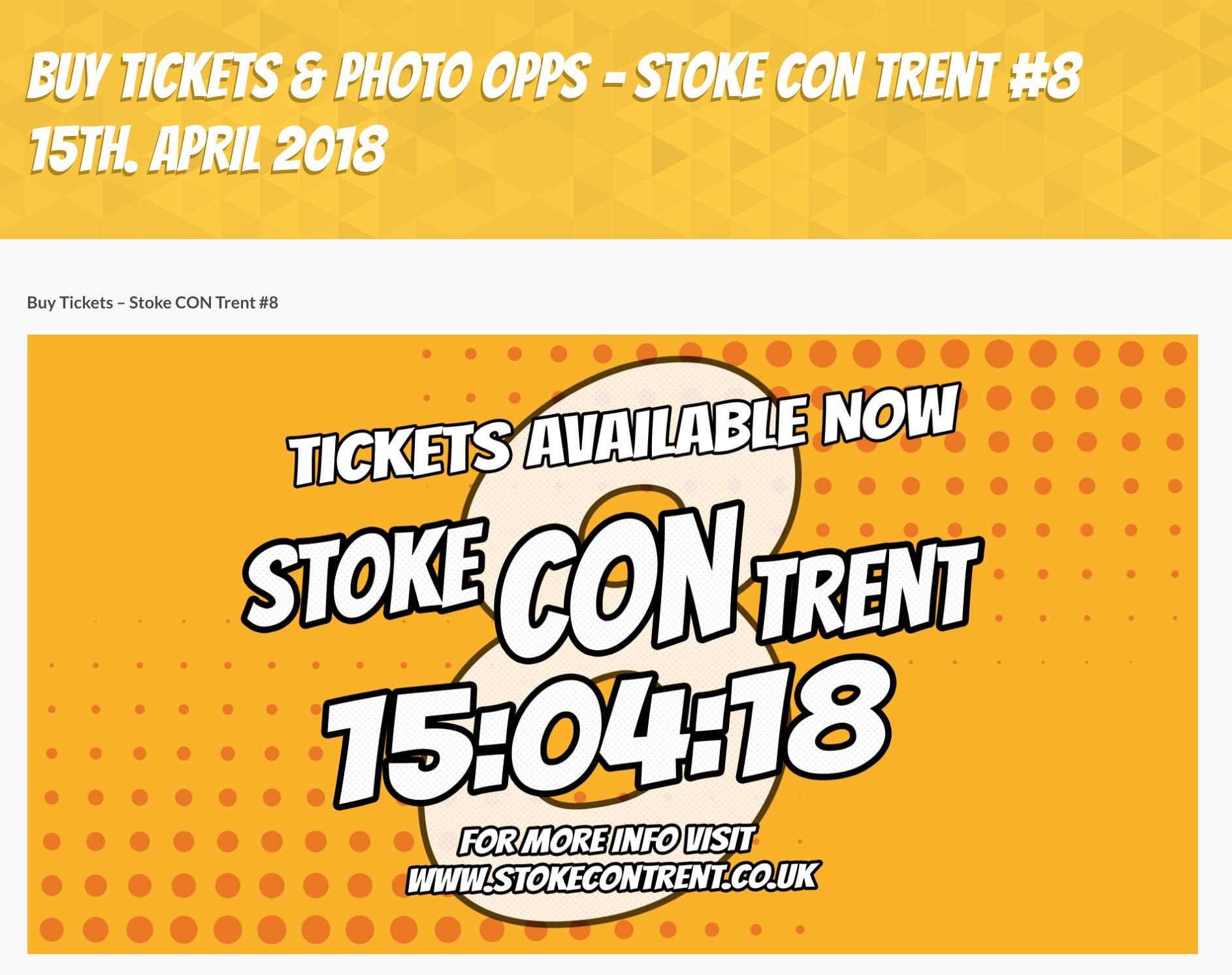 Buy Tickets HERE for Stoke CON Trent #8 15th April 2018